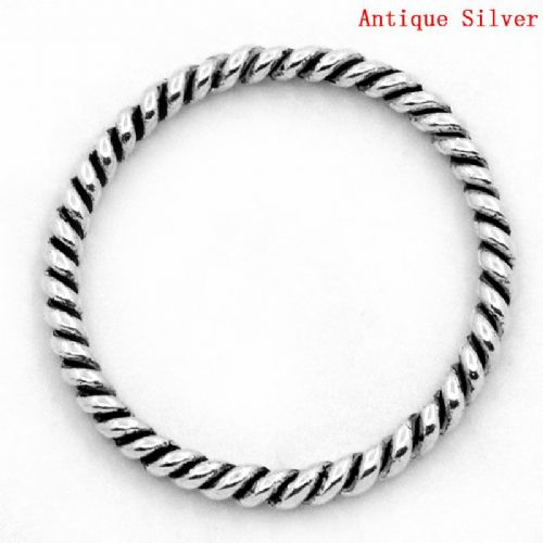 25 Twisted Antique Silver Closed Rings 18 mm
